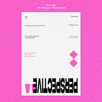 Vertical flyer for type phrases