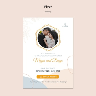 Vertical flyer for wedding ceremony with bride and groom