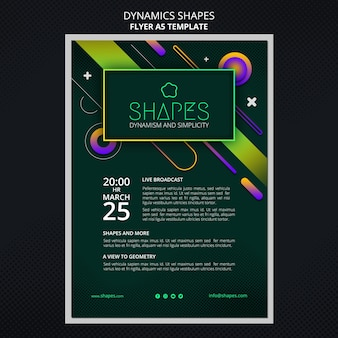 Vertical flyer with dynamic geometric neon shapes