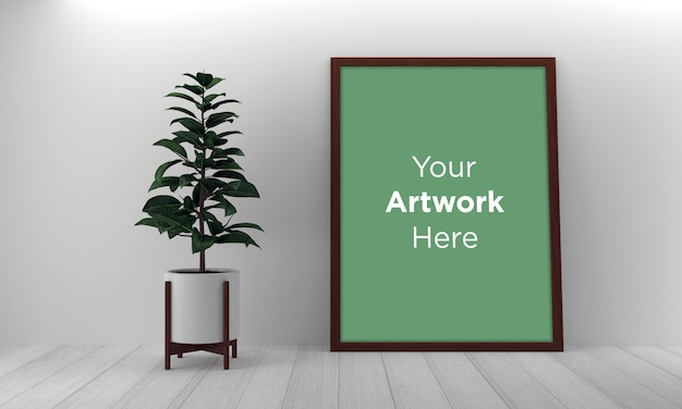 Vertical frame laying on floor mockup design with green plant
