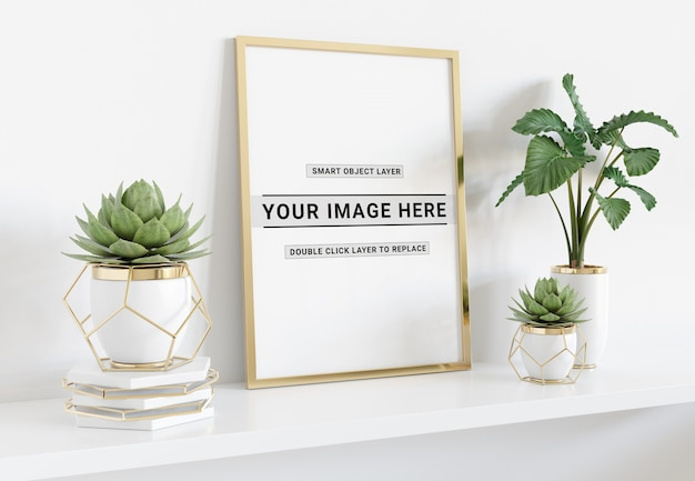 Vertical frame laying on shelf mockup