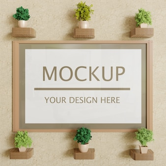 Vertical frame mockup with decoration plants on plaster wall