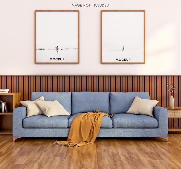 Вертикальная рама с синим диваном и деревянным полом