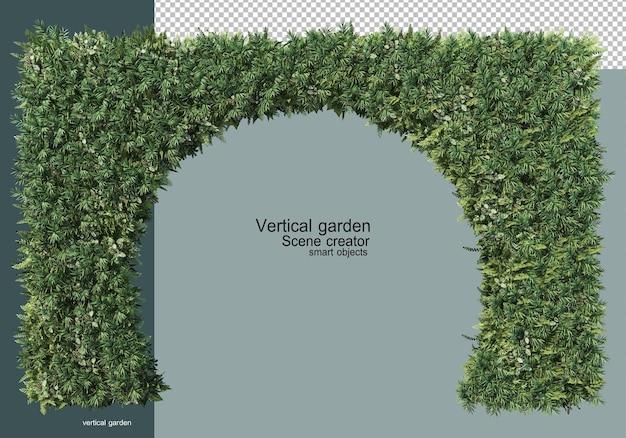 다양한 식물이 있는 수직 정원