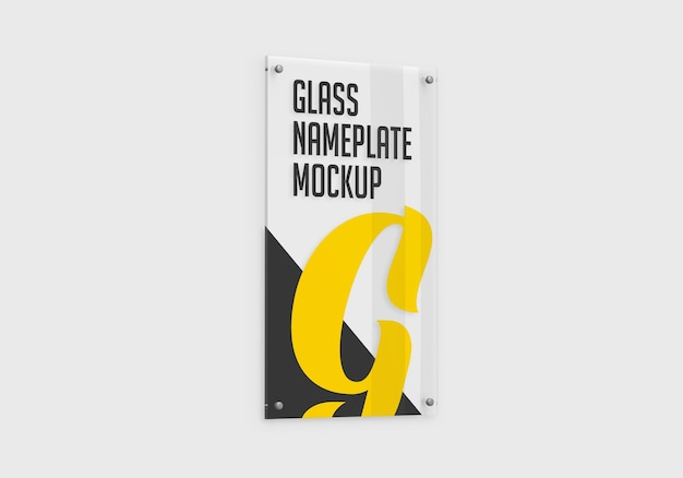 Vertical glass nameplate mockup isolated