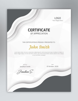 Vertical grey one color certificate template with polygon pattern