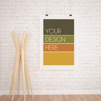 白いレンガの壁と木製のランプとモダンなインテリアの垂直吊りポスターモックアップ