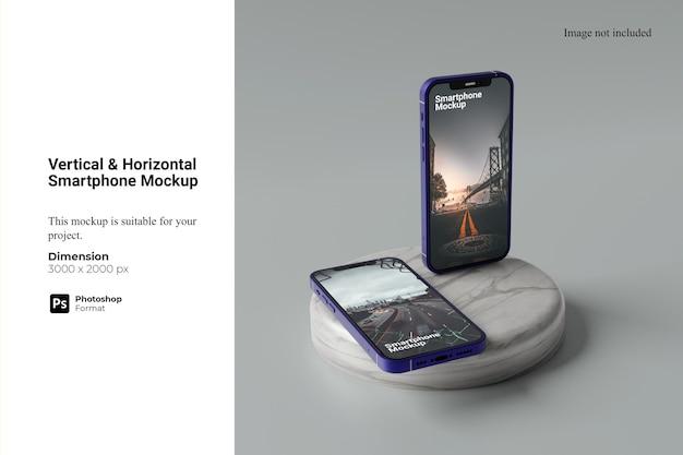 垂直水平スマートフォンモックアップ