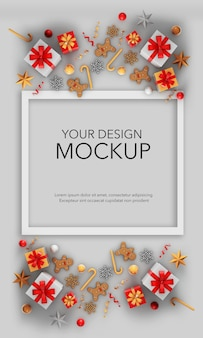 Вертикальное изображение открытки с подарками и елочными украшениями, макет