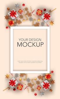 선물과 크리스마스 장식이 있는 카드의 세로 이미지, 모형