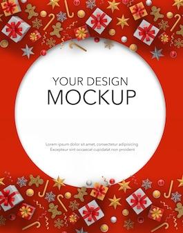 Вертикальное изображение круглой открытки с подарками и елочными украшениями, макет
