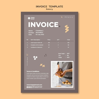 Vertical invoice template for bread shop