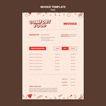 Vertical invoice template for hot dog comfort food