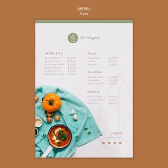 Вертикальный шаблон меню для веганской еды