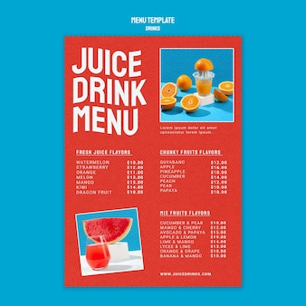 Modello di menu verticale per succhi di frutta sani