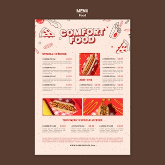 Vertical menu template for hot dog comfort food