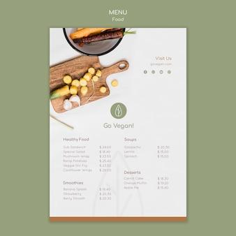 Modello di menu verticale per cibo vegano