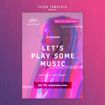 Vertical neon flyer template for music with artist