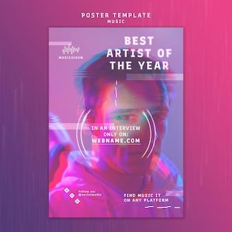 Modello di poster al neon verticale per musica con artista