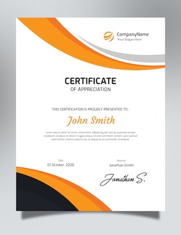 Vertical orange & black certificate template
