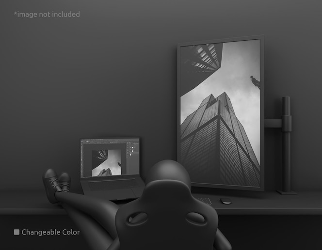 Vertical pc desktop screen and laptop screen mockup with lazy owner