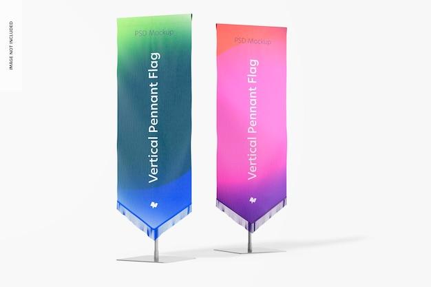 Vertical pennant flags mockup