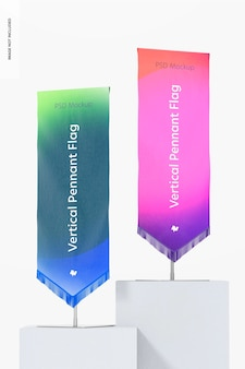 Vertical pennant flags on podium mockup