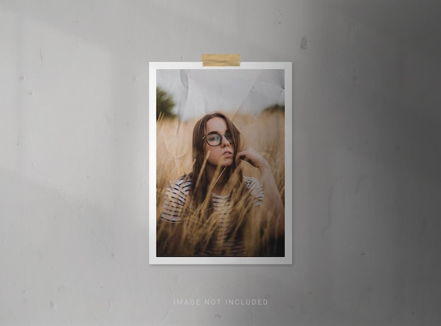 Vertical photo frame mockups with paper effect