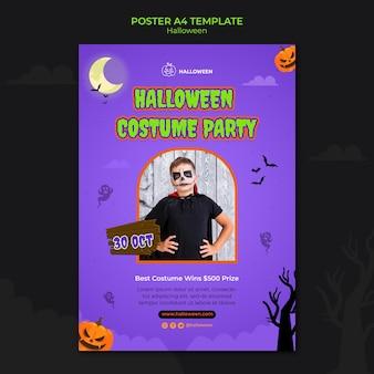 Вертикальный пост-шаблон для хэллоуина с ребенком в костюме