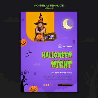 Vertical poste template for halloween with kid in costume