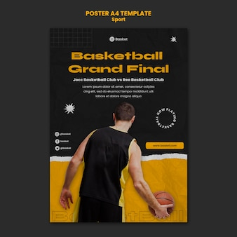 Vertical poster for basketball game with male player