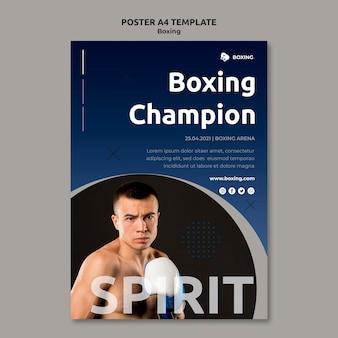Poster verticale per lo sport di boxe con boxer maschio