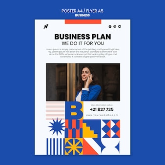 Vertical poster for business with elegant woman