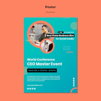 Vertical poster for ceo master event conference