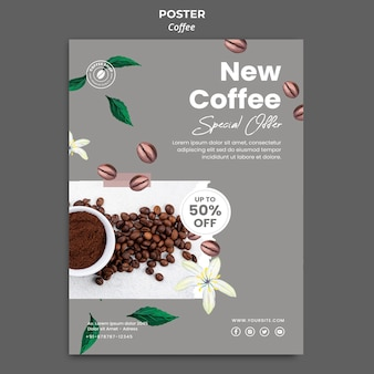 Vertical poster for coffee