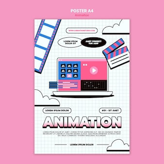 Vertical poster for computer animation