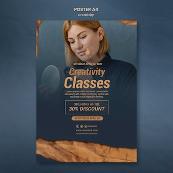 Vertical poster for creative pottery workshop with woman