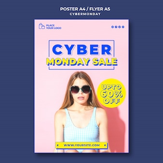 Vertical poster for cyber monday shopping