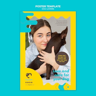 Vertical poster for dog lovers with female owner