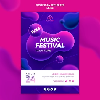 Vertical poster for electro music festival with neon liquid effect shapes