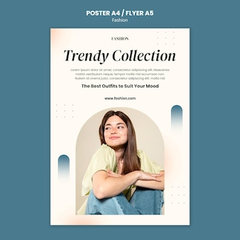 Vertical poster for fashion style and clothing with woman