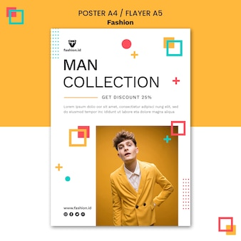 Vertical poster for fashion with male model