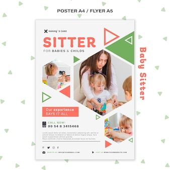 Vertical poster for female baby-sitter with children
