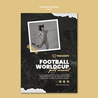 Vertical poster for female football player