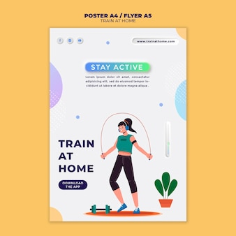 Vertical poster for fitness training at home