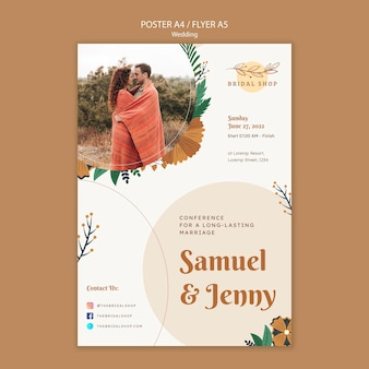 Vertical poster for floral wedding with leaves and couple