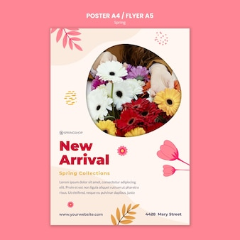 Vertical poster for flower shop with spring flowers