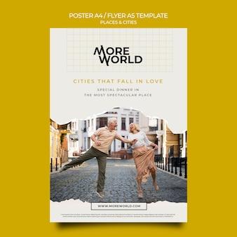 여행하는 도시와 장소를위한 세로 형 포스터