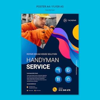 Вертикальный плакат для компании, предлагающей услуги разнорабочего