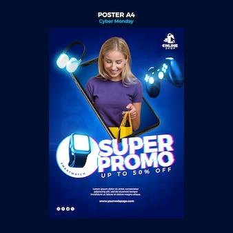 Вертикальный плакат для киберпонедельника с женщиной и предметами